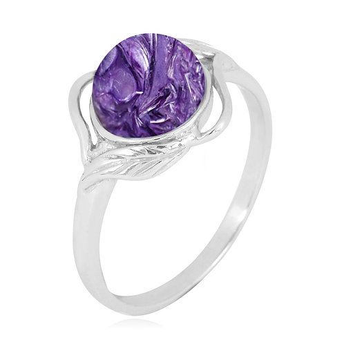 [NRB7481-CHR] Sterling Silver Charoite Ring with Leaf Patterns