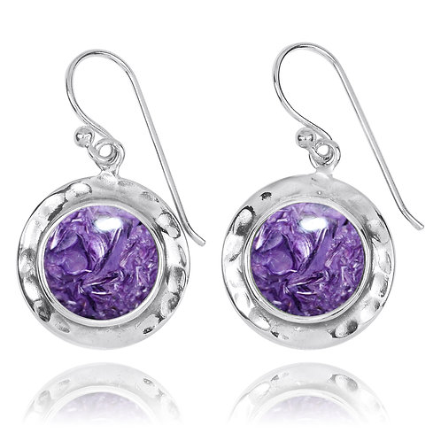 NEA3726-CHR - Round Classic Earrings with Charoite