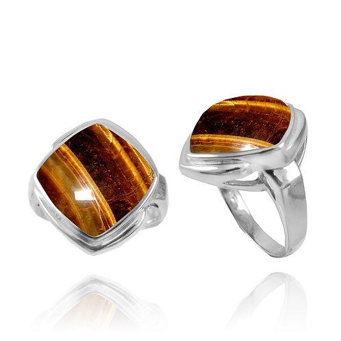 [NRB6809-BRTE] Cushion Shape Tiger Eye Gemstone Ring