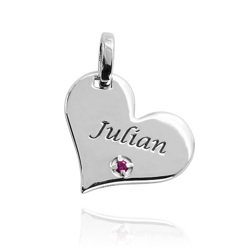 KPG65 - Heart shape silver Pendant \ Charm with Engraved name and Birth stone