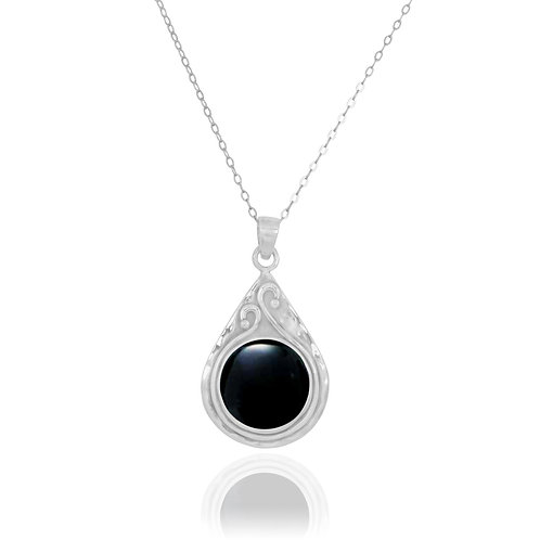 NP11604-BKON - Elegant Pear shape Silver Pendant with Round Black Onyx Piece