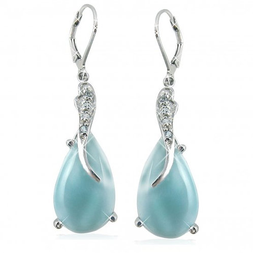 NEA3055-LAR - Amazing Larimar Earrings with Sky Blue Topaz Stones