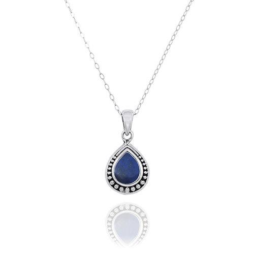 NP12366-LAP -  Drop Shape  Silver Pendant with a  Lapis Lazuli Piece