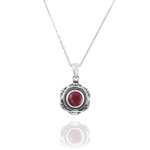 NP12359-RDN - Elegant Modern Silver Pendant with a Round Rhodonite Opal Piece