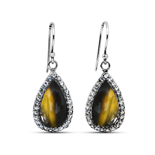 NEA3011-BRTE - Classic and Unique Tiger Eye Earrings with White Topaz