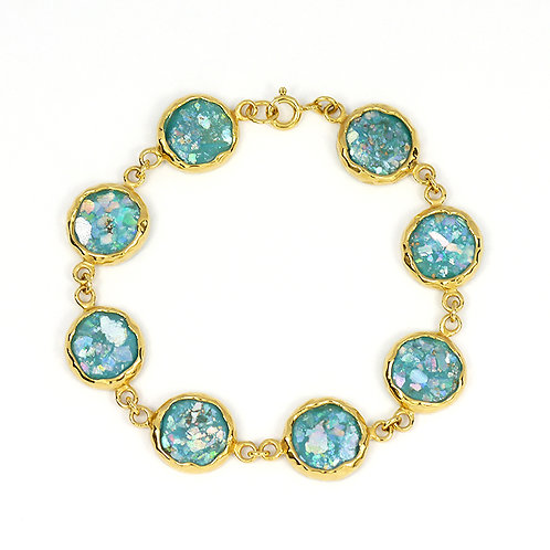 [NB1174-RG-GP] Gold plated Chain Bracelet with 8 Round Roman Glass