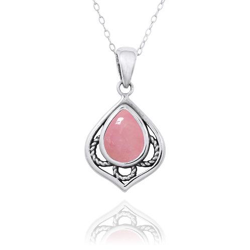 NP12218-PPKOP -  Elegant Silver Pendant with a Pear Shape Peru Pink Opal Piece