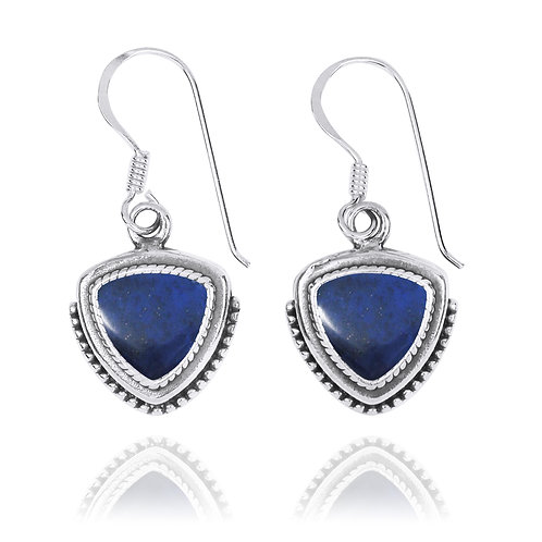 NEA3772-LAP - Classic Pointy Triangle Earring with Lapis Lazuli  Stones