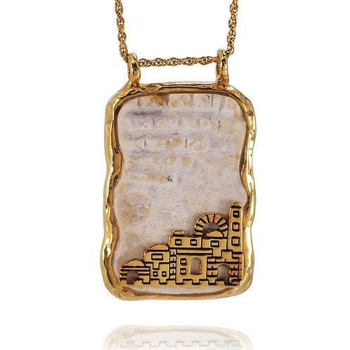 NP11622-JRSL-GP  Silver Jerusalem Stone Pendant - 18k Gold Plated