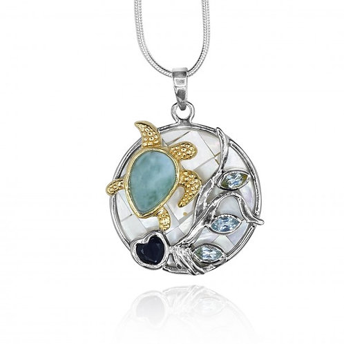 [KPG14-LAR-LAP] Pear shape Larimar stone , Lapis Lazuli , sky Blue Topaz ,sea tu