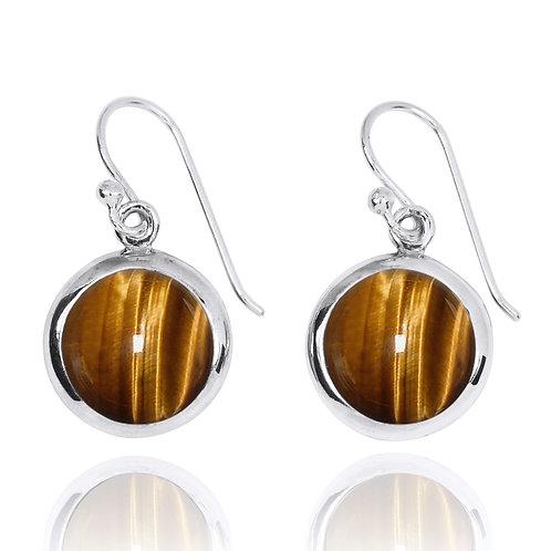 NEA3713-BRTE- Classic Round Earrings with Tiger Eye Stones