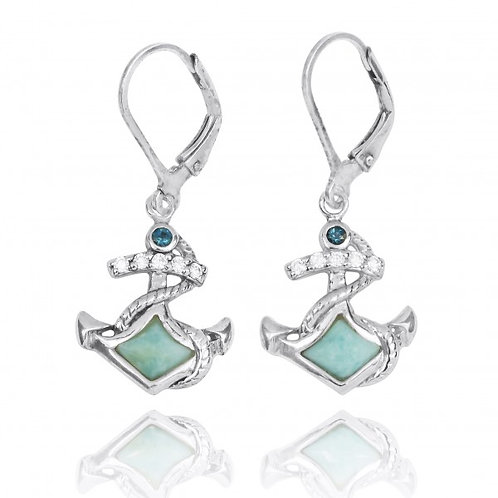 [NEA3138-LAR-LBLT] Sterling Silver Anchor with Larimar and London Blue Topaz Lev
