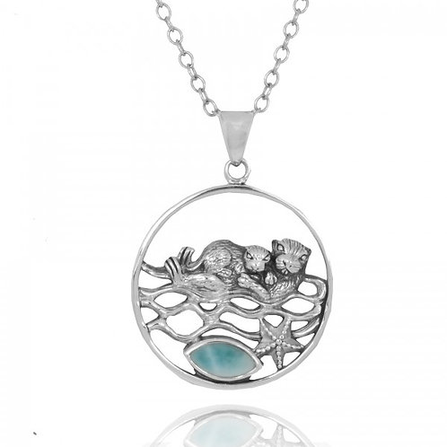 [NP12809-LAR] Mother Otter with Baby Oxidized Silver Pendant with Marquise Larim