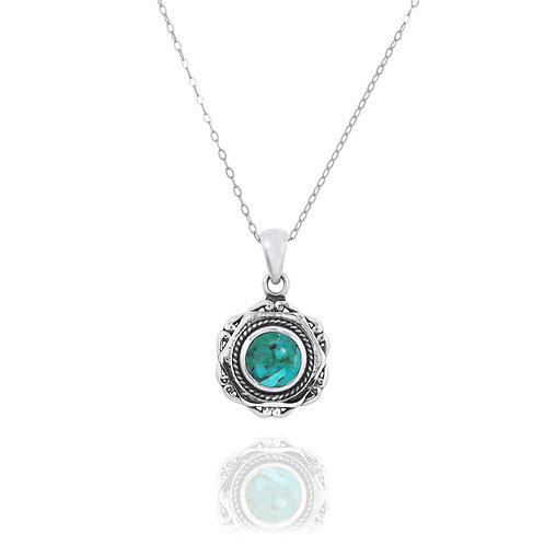 NP12359-GRTQ - Elegant Modern Silver Pendant with a Round Turquoise   Piece