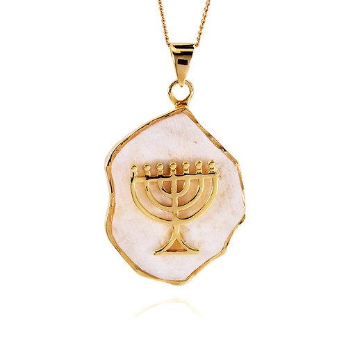 NP11639-JRSL-GP - 18 k Gold Plated Menorah pendant with Jerusalem Stone