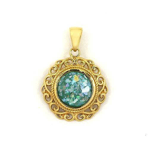 NP12048-RG-GP- Royal Roman Glass Pendant - 18k Gold Plated