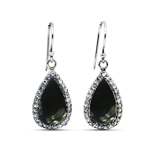 NEA3011-BKON - Elegant and unique Onyx Earrings with White Topaz