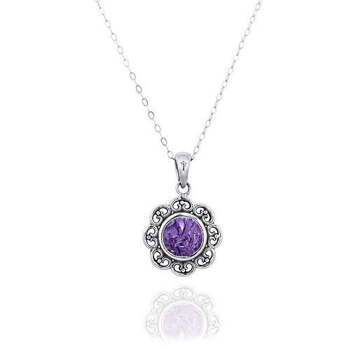 NP12223-CHR - Elegant Flower Silver Pendant with a Round Charoite Piece