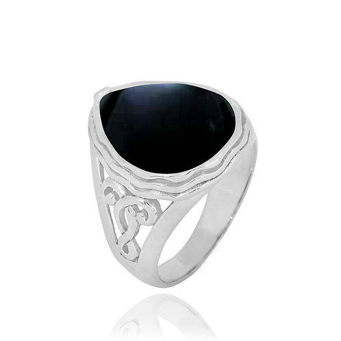 NRB8804-BKON -  Pear Shape Black Onyx Elegant Statement Ring