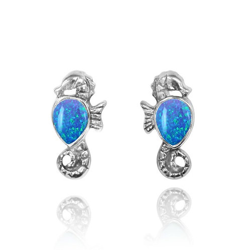 [NES3698-BLOP] Sterling Silver Seahorse Stud Earrings with Pear Shape Blue Opal