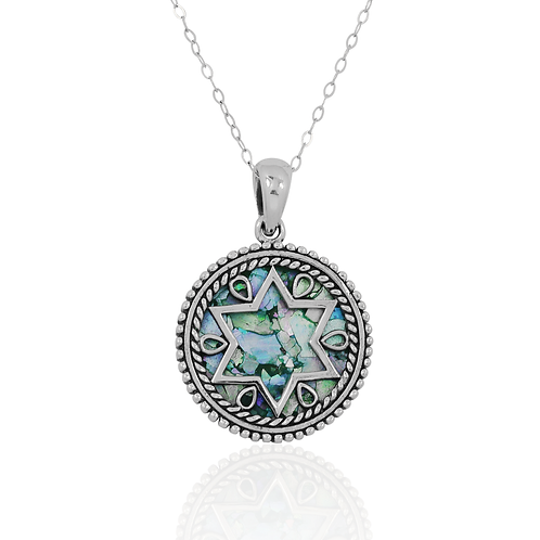 NP11844-RG - Sterling Silver Roman Glass Pendant - Star of David Jewelry