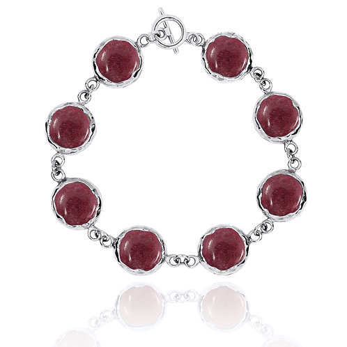 [NB1174-RDN] Sterling Silver Chain Bracelet with 8 Round Rhodonite