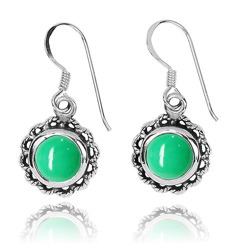 NEA3749-CRP- Flowery Earrings with Chrysoprase Stones