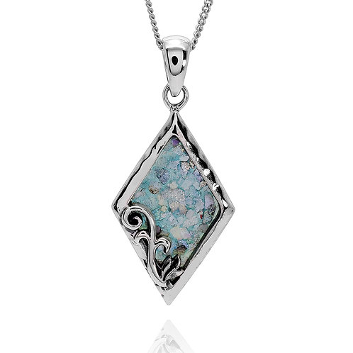 NP12069-RG - Sterling Silver Roman Glass Pendant - Gemstone Jewelry- Handmade