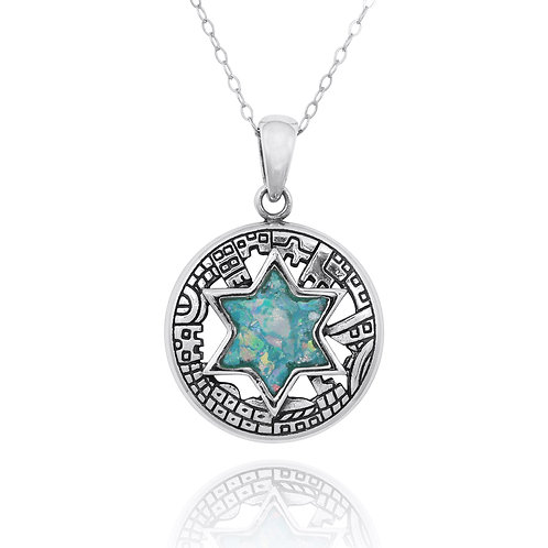 NP11923-RG - Sterling Silver Roman Glass Pendant - Star of David Jewelry