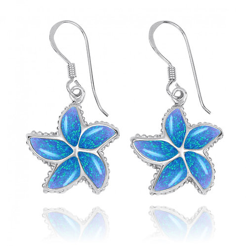 NEA3239-BLOP - Uniqe Elegant Star Fish Earrings with S Blue Opal
