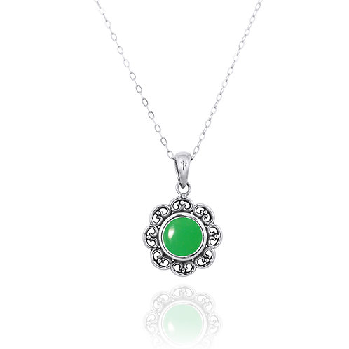 NP12223-CRP - Elegant Flower Silver Pendant with a Round Chrysoprase Piece