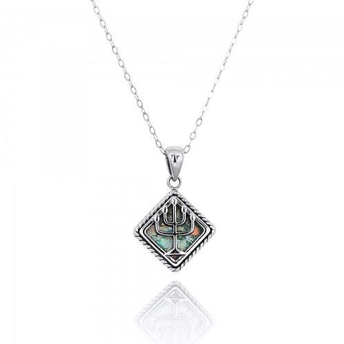 [NP12225-RG] Sterling Silver Menorah Pendants with Roman Glass