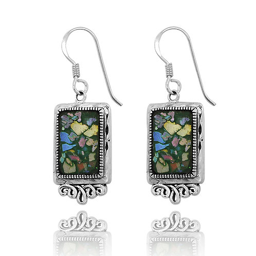 NEA3652-RG - Classic Roman Glass Royal Earings