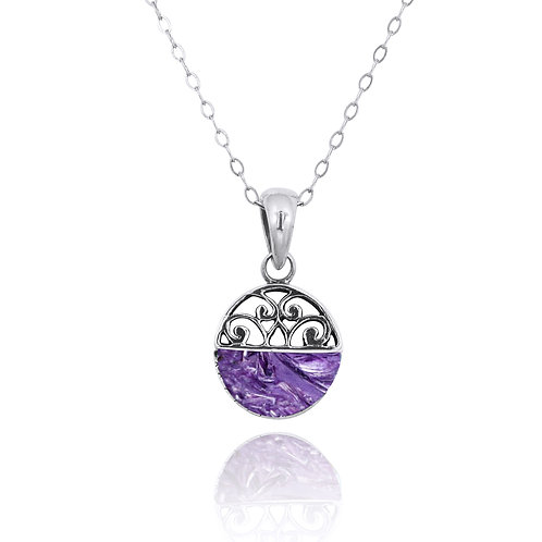 NP12200-CHR -  Elegant Silver Pendant with a Charoite Piece
