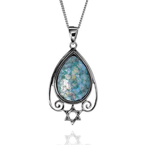 NP8734-RG -Elegant Royal Roman Glass Pendant with Star Of David