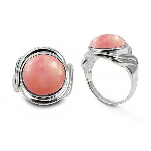 [NRB6617-PPKOP] Sterling Silver Ring with Round Peru Pink Opal