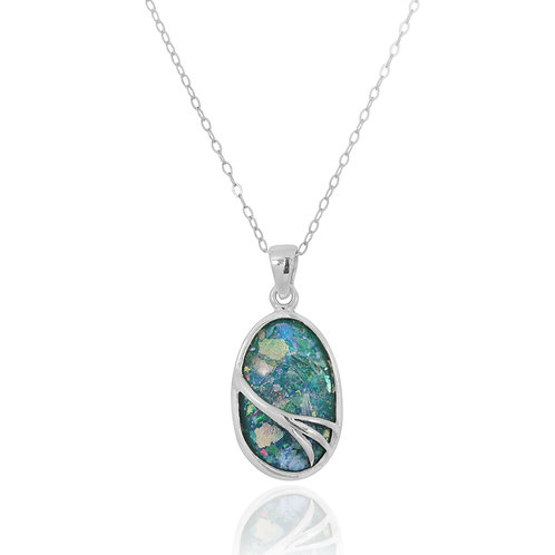 NP7090-RG - Oval Silver Pendant with Roman glass