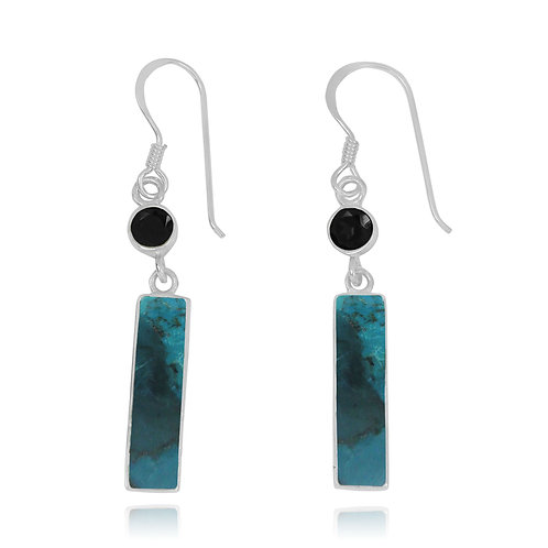 NEA3721-GRTQ - Elegant 2 Part dangling earrings with Turquoise and Black Spinel