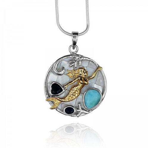 [KPG2-LAR-LAP-LAP] Drop shape larimar and heart shape Lapis Lazuli mermaid round