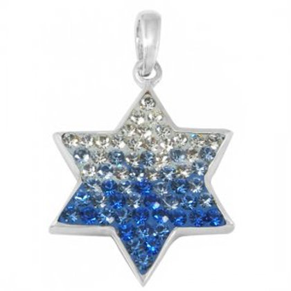 NP8297 -IsFlag Colours Classic Israeli Star Of David Pendant - Blue and White CZ