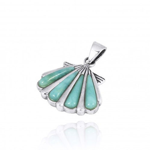 NP10744-LAR-  Seashell with Larimar Sterling Silver Pendant