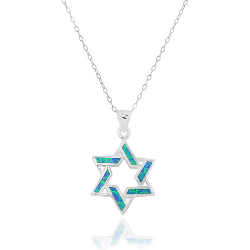 NP3637-OP - Classic Star Of David Pendant with S Blue Opal Stripes