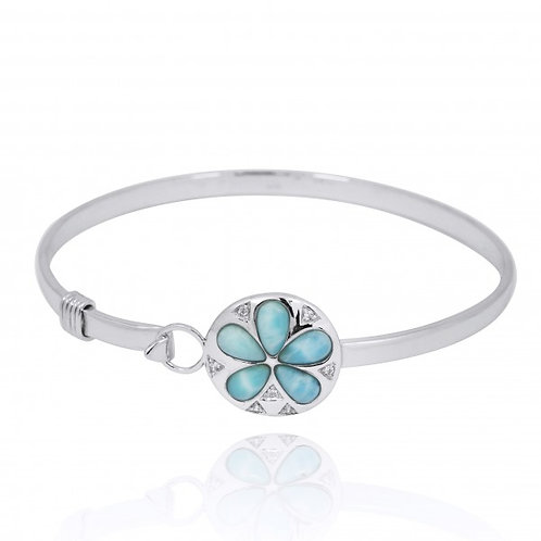 [NB1458-LAR-WHCZ] Sterling Silver Silver Sand Dollar with Larimar and White CZ B