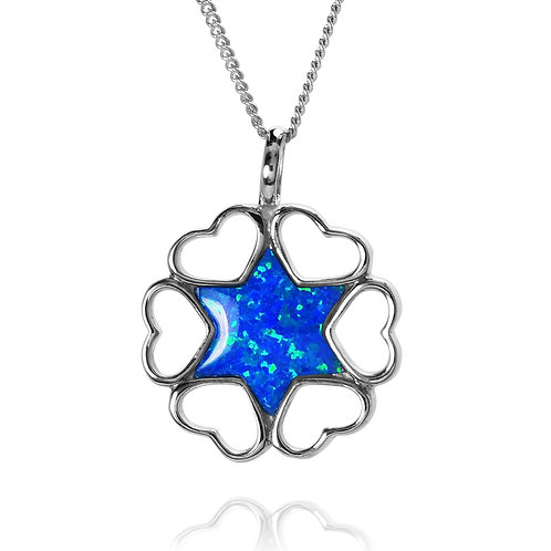 NP9336-OP- Star Of David Pendant with Hearts Desigs