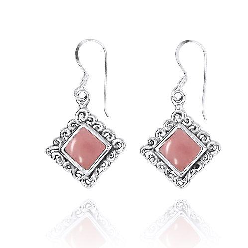 NEA3758-PPKOP - Elegant Ethnic Style Earrings with Peru Pink Opal