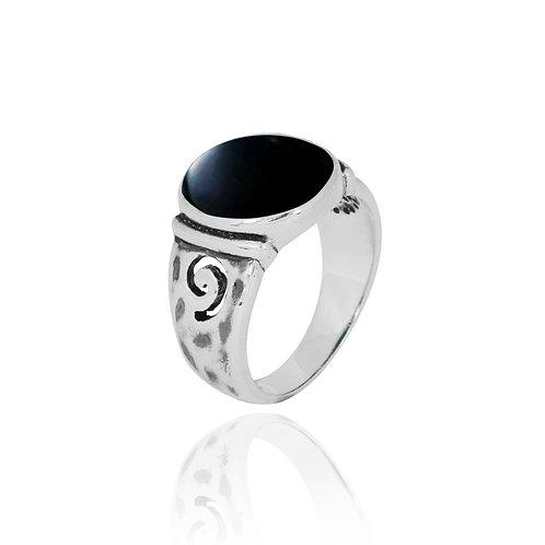 NRB8803-BKON -  Round Shape Black Onyx Elegant Ethnic Ring
