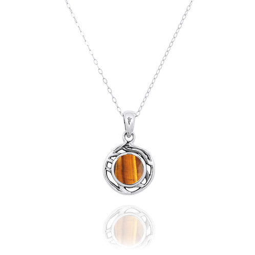 NP12368-BRTE  -  Drop Shape  Silver Pendant with a  Tiger Eye Piece