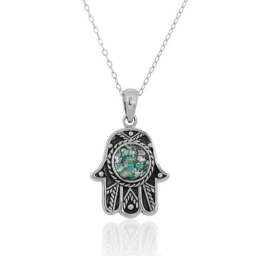 NP11846-RG- Oxidised Hamsa Pendant with Roman Glass