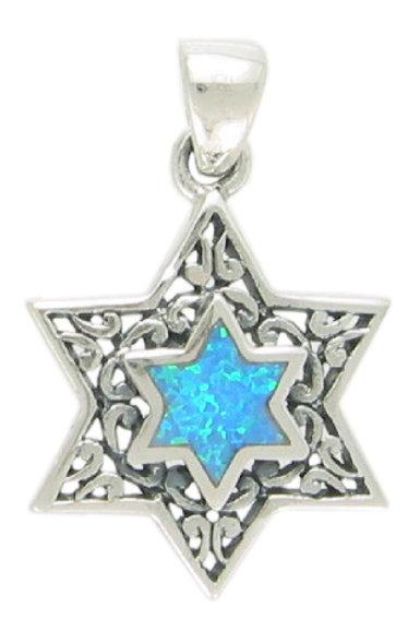 NP1586-LTBLOP - Star of David S Blue Opal Elegant Pendant