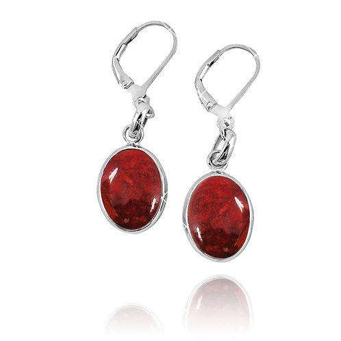 NEA3054-SPC- Elliptic Elegant Sponge Coral Earrings